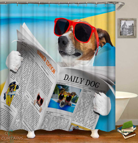 Shower Curtains with Funny News The Daily Dog
