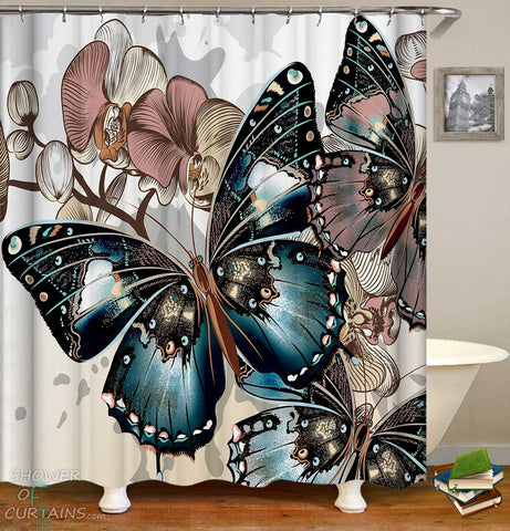 Shower Curtains with Giant Butterflies