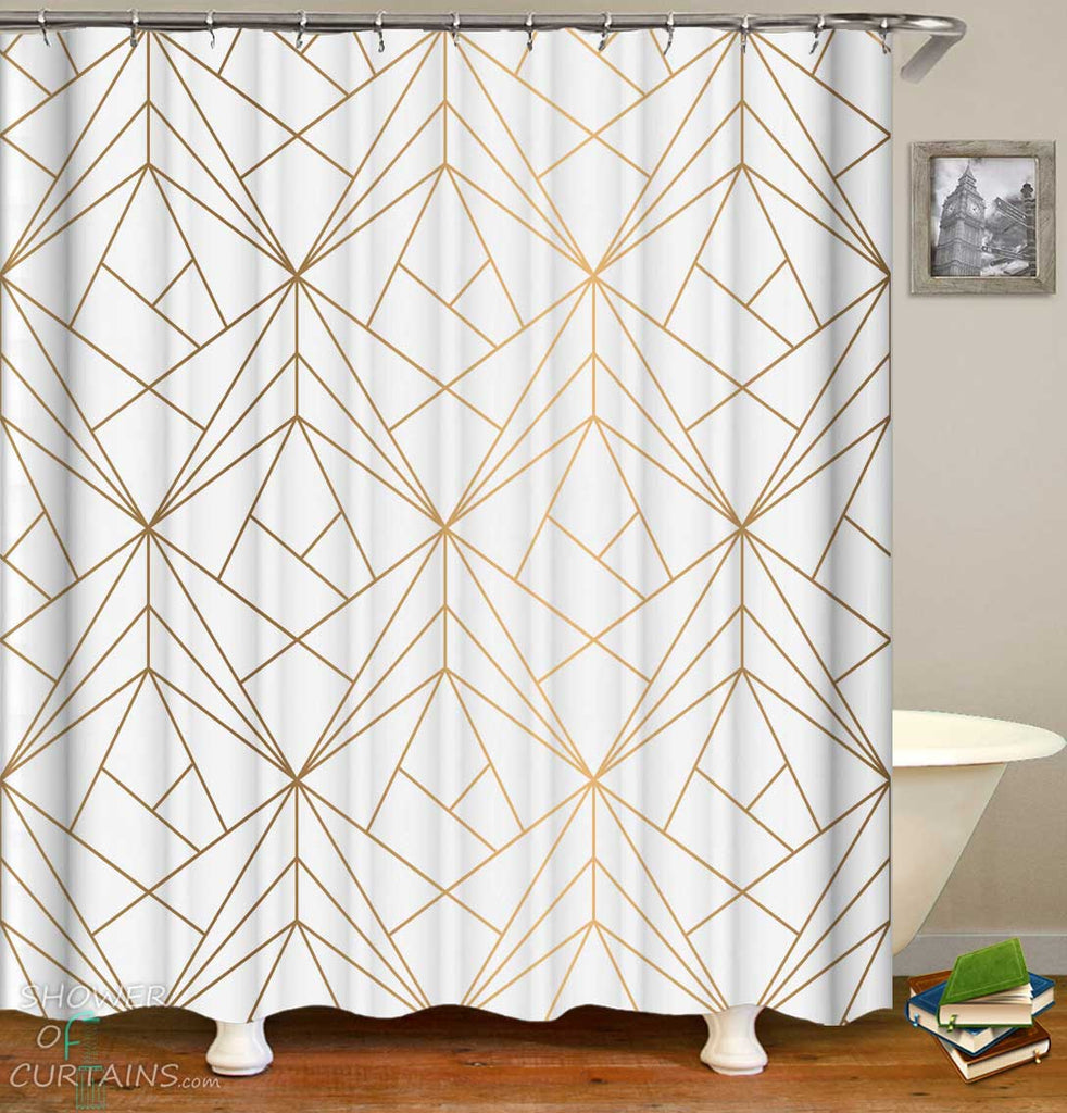 Shower Curtains with Golden Artistic Triangles