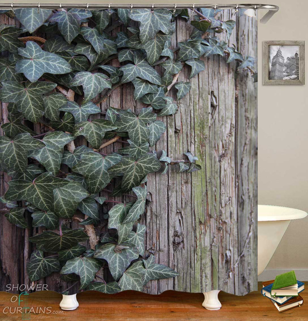 Shower Curtains with Green Leaves on Old Wood Wall