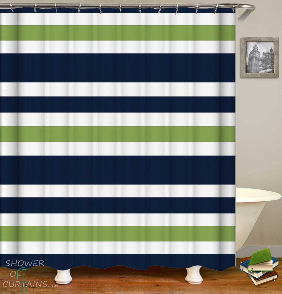 Shower Curtains with Green and Blue Stripes