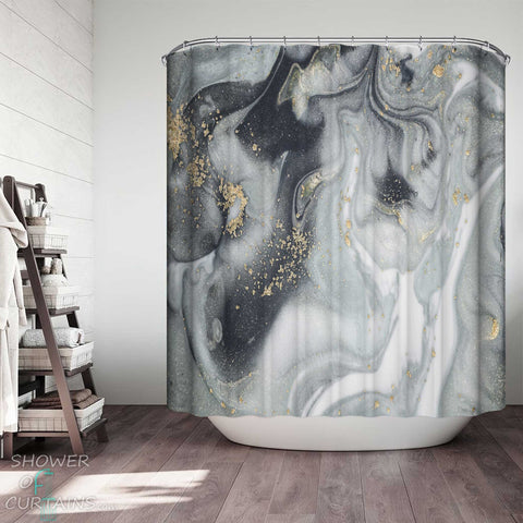Shower Curtains with Grey Marble