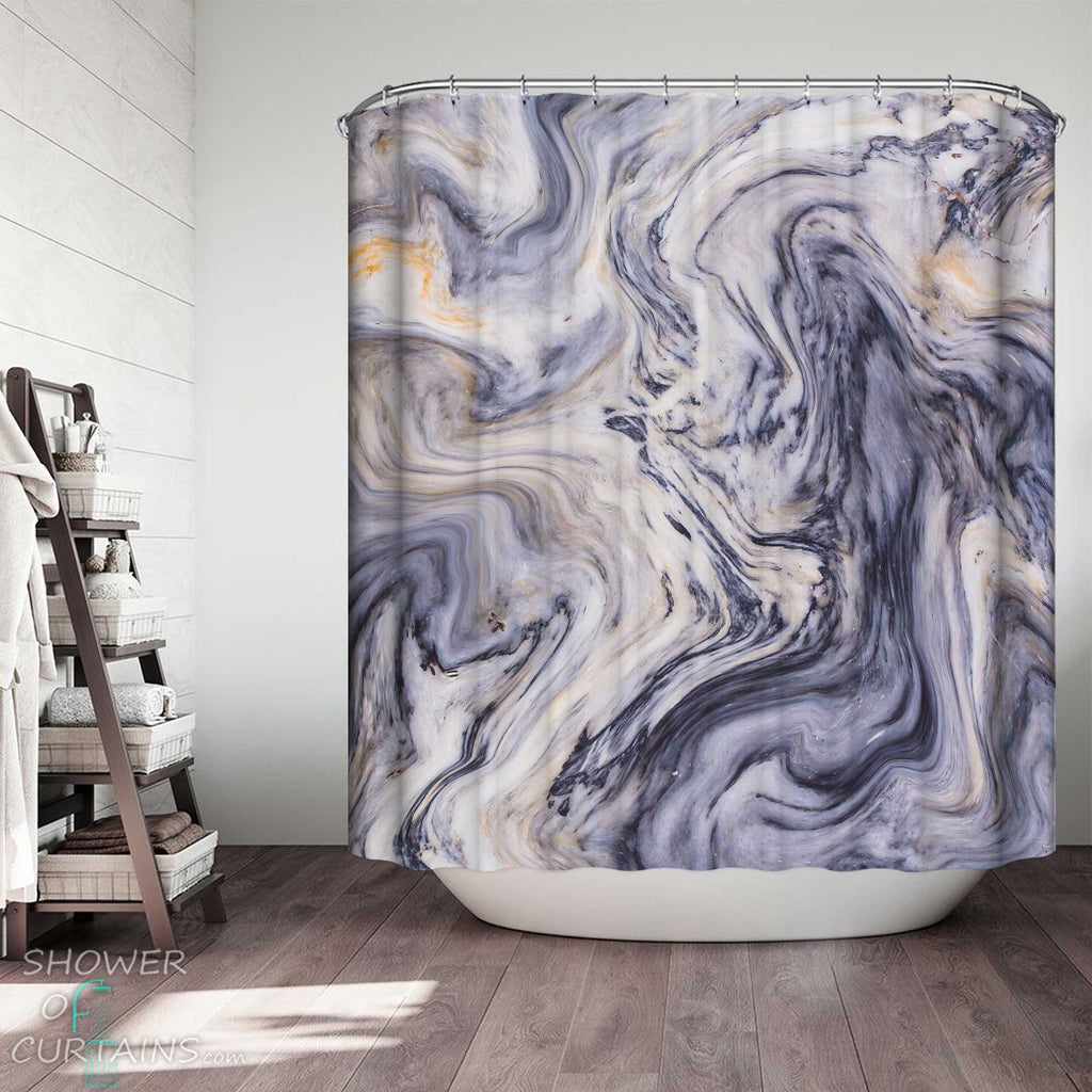Shower Curtains with Greyish Marble