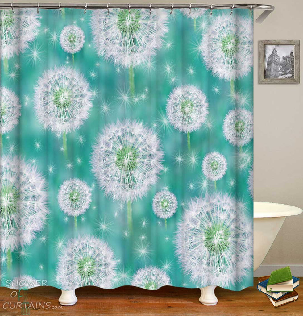 Shower Curtains with Groundsel Pattern