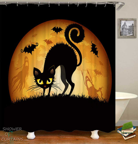 Shower Curtains with Halloween Cat