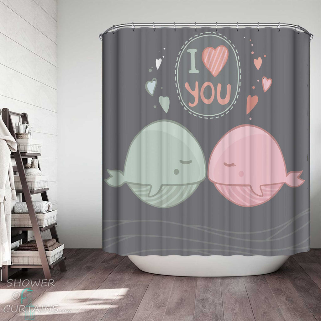 Shower Curtains with I Love You Cute Fat Whales