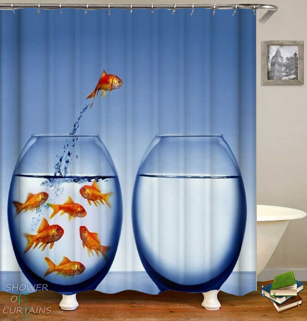 Shower Curtains with Jumping Goldfish