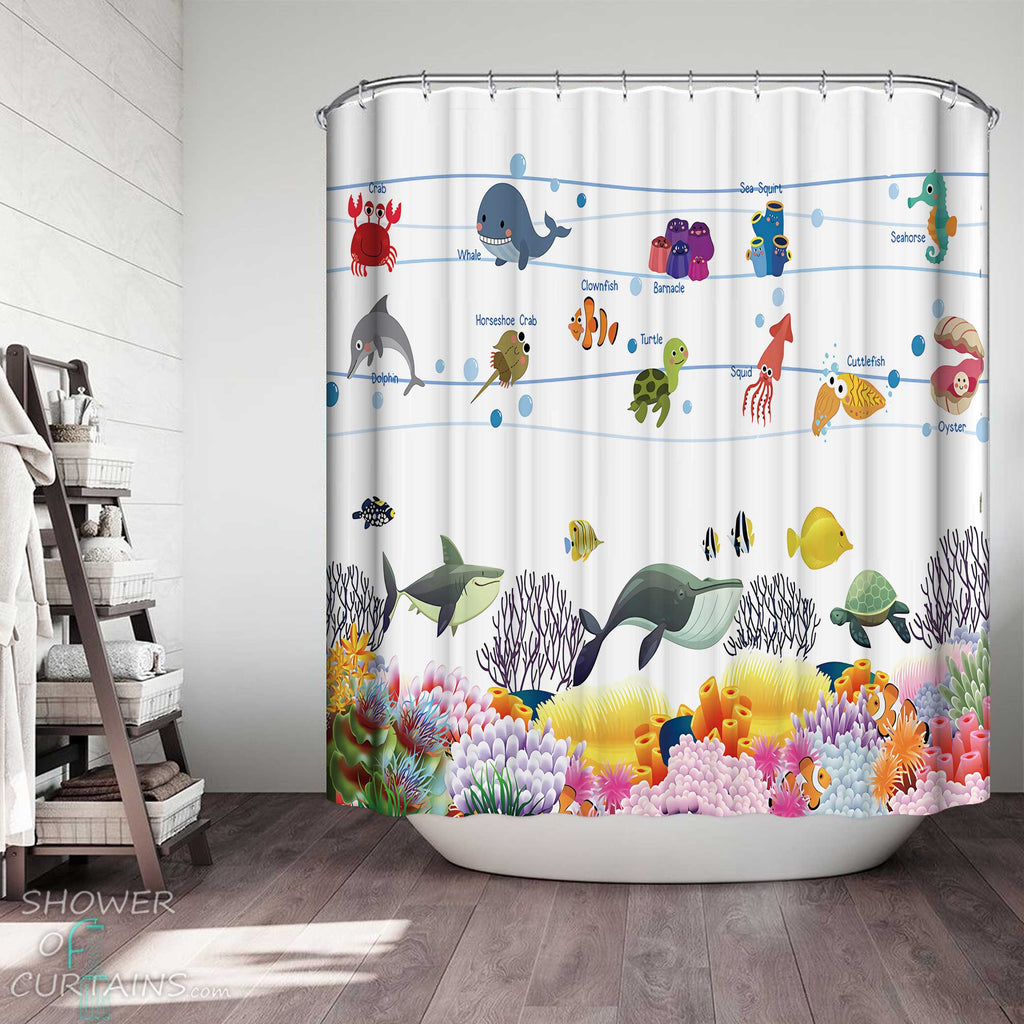 Shower Curtains with Kids Marine Animals