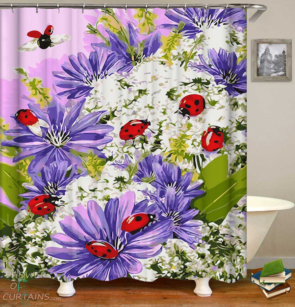 Shower Curtains with Ladybugs on Purplish and White Flowers