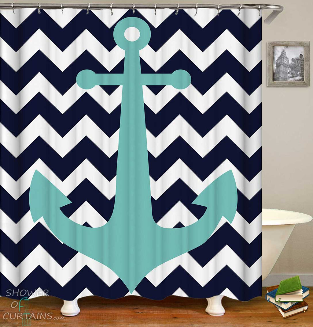 Shower Curtains with Light Blue Anchor over Blue Chevron