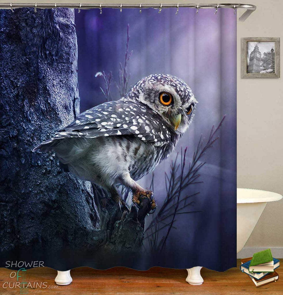 Shower Curtains with Little Owl