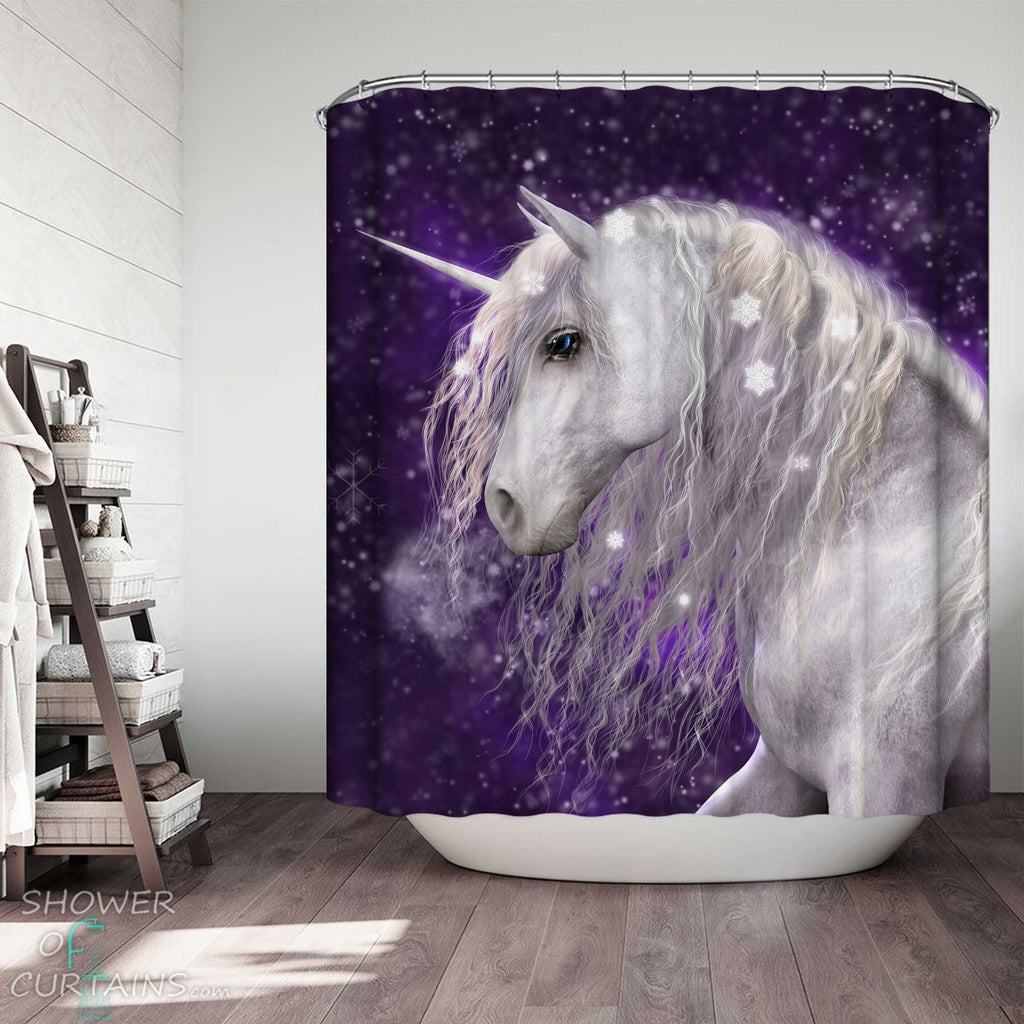 Shower Curtains with Magical Snowflakes Unicorn