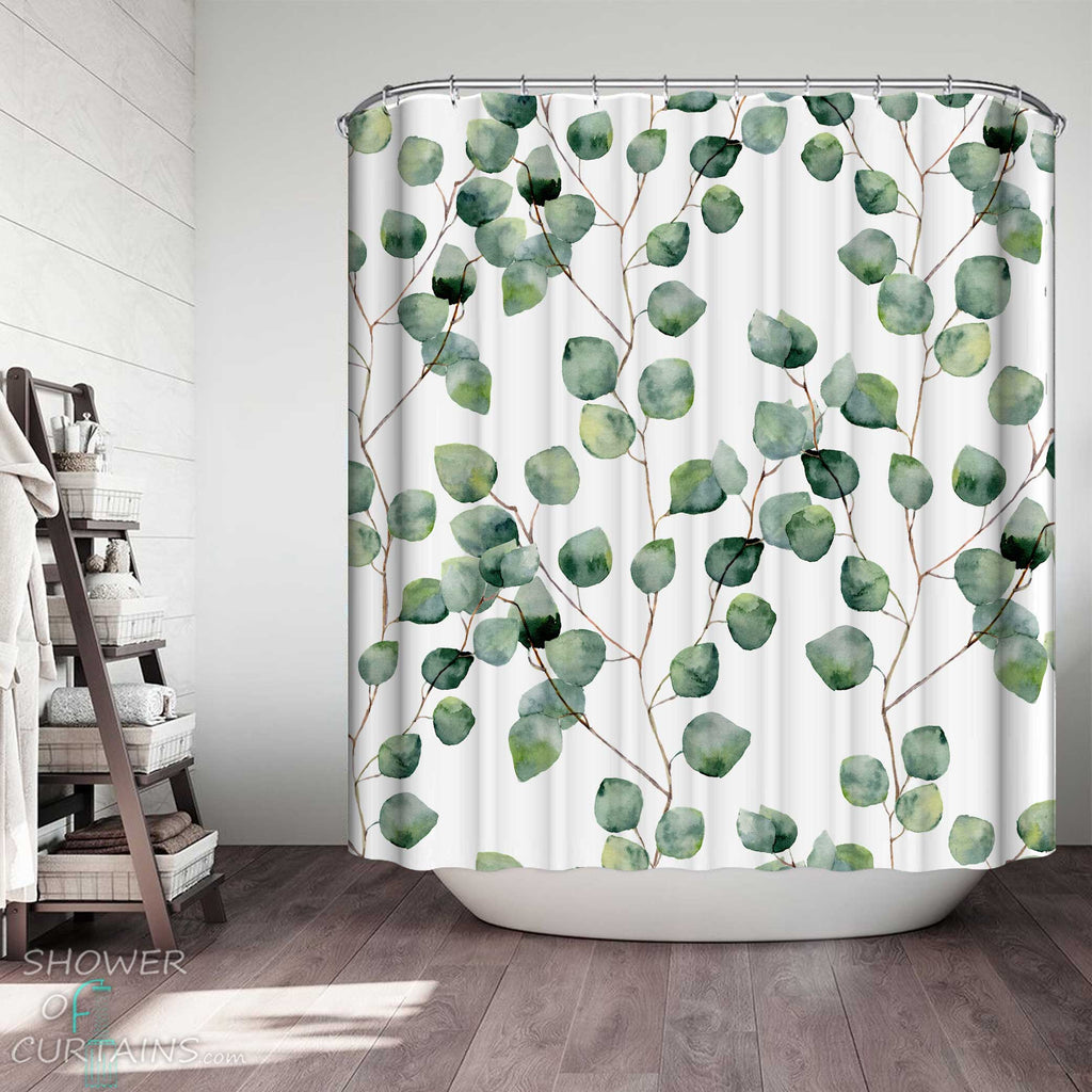 Shower Curtains with Modest Leafy Branches