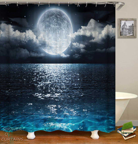 Shower Curtains with Moon Light Ocean