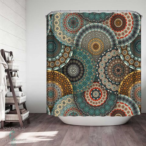 Shower Curtains with Multi Colored Oriental Mandalas