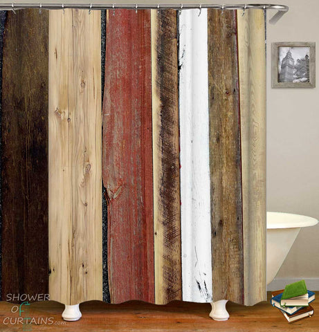 Shower Curtains with Multi Colored Worn Deck