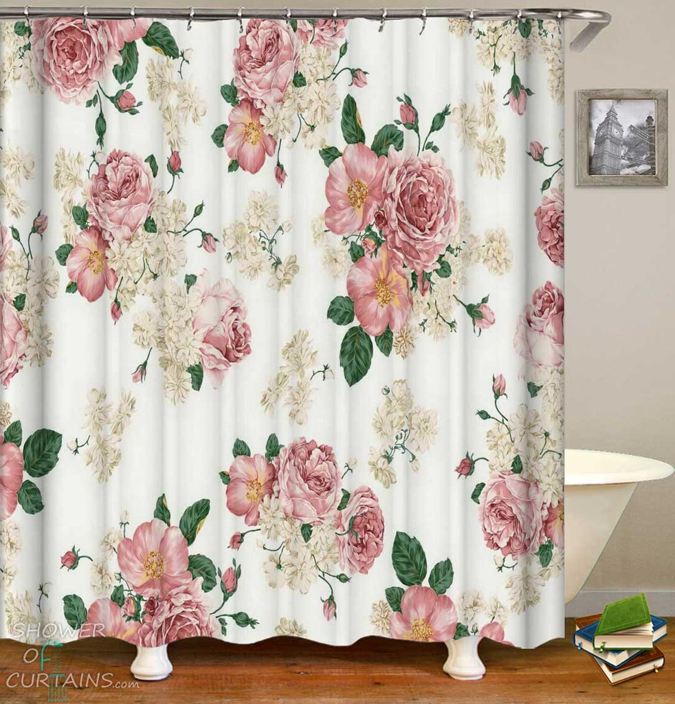 Shower Curtains with Old Fashioned Roses Pattern