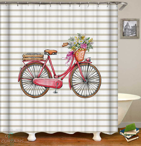 Shower Curtains with Old Style Bicycle with Flowers
