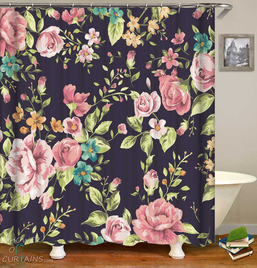 Shower Curtains with Old Style Roses Over Light Black