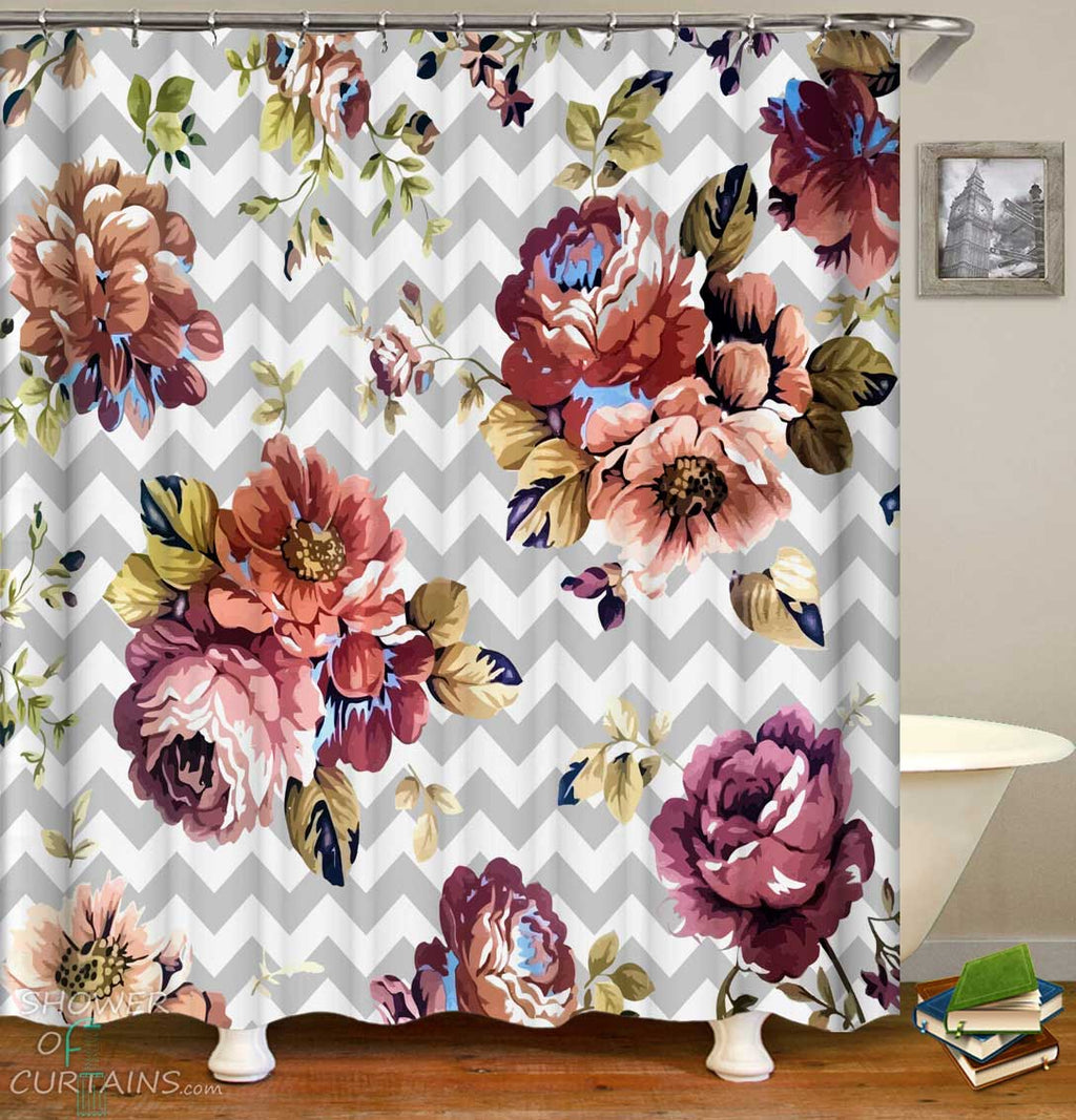 Shower Curtains with Old Style Roses over Chevron