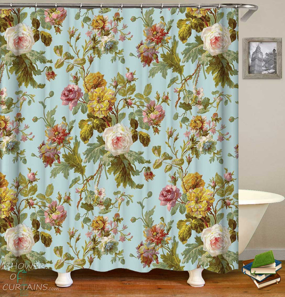 Shower Curtains with Old Style Roses