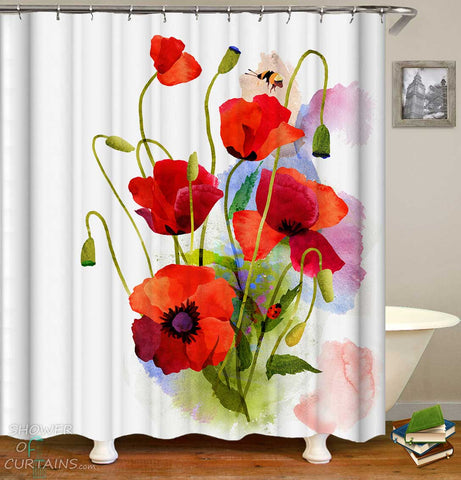 Shower Curtains with Painted Poppy Flowers