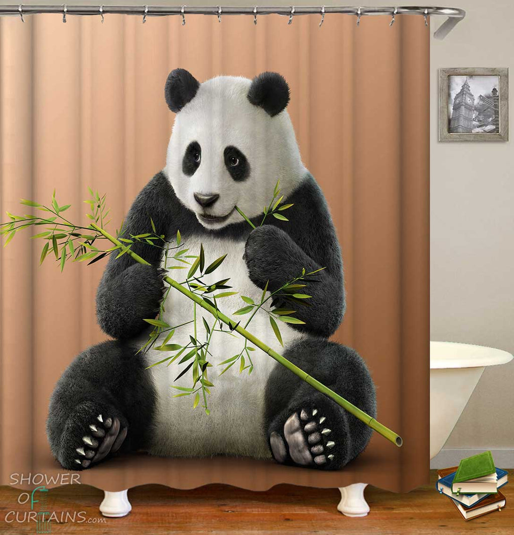Shower Curtains with Panda Eating