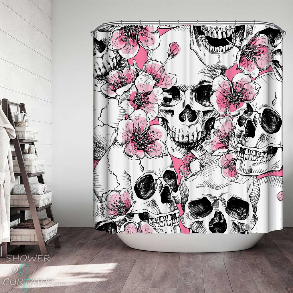 Shower Curtains with Pink Flowers and Skulls Drawing