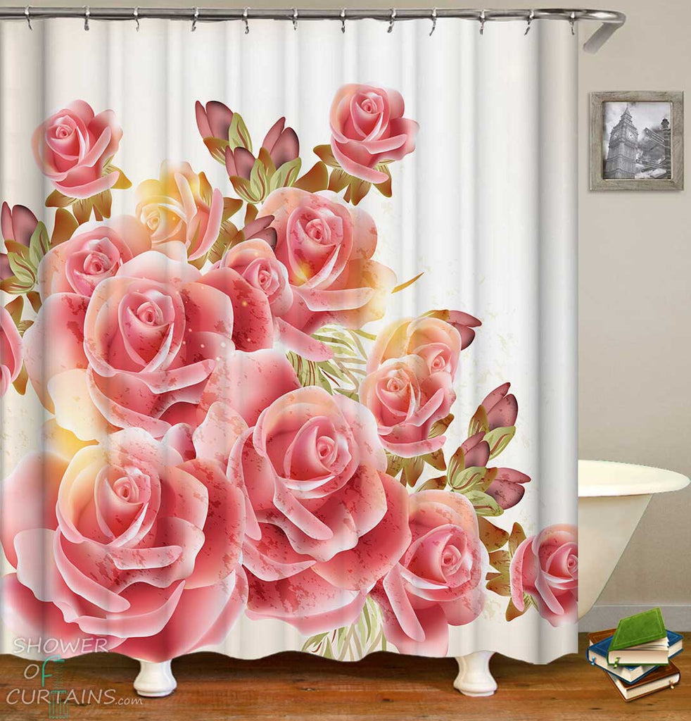 Shower Curtains with Pink Roses