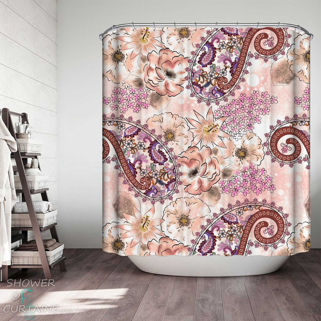 Shower Curtains with Pinkish Flowers and Paisley