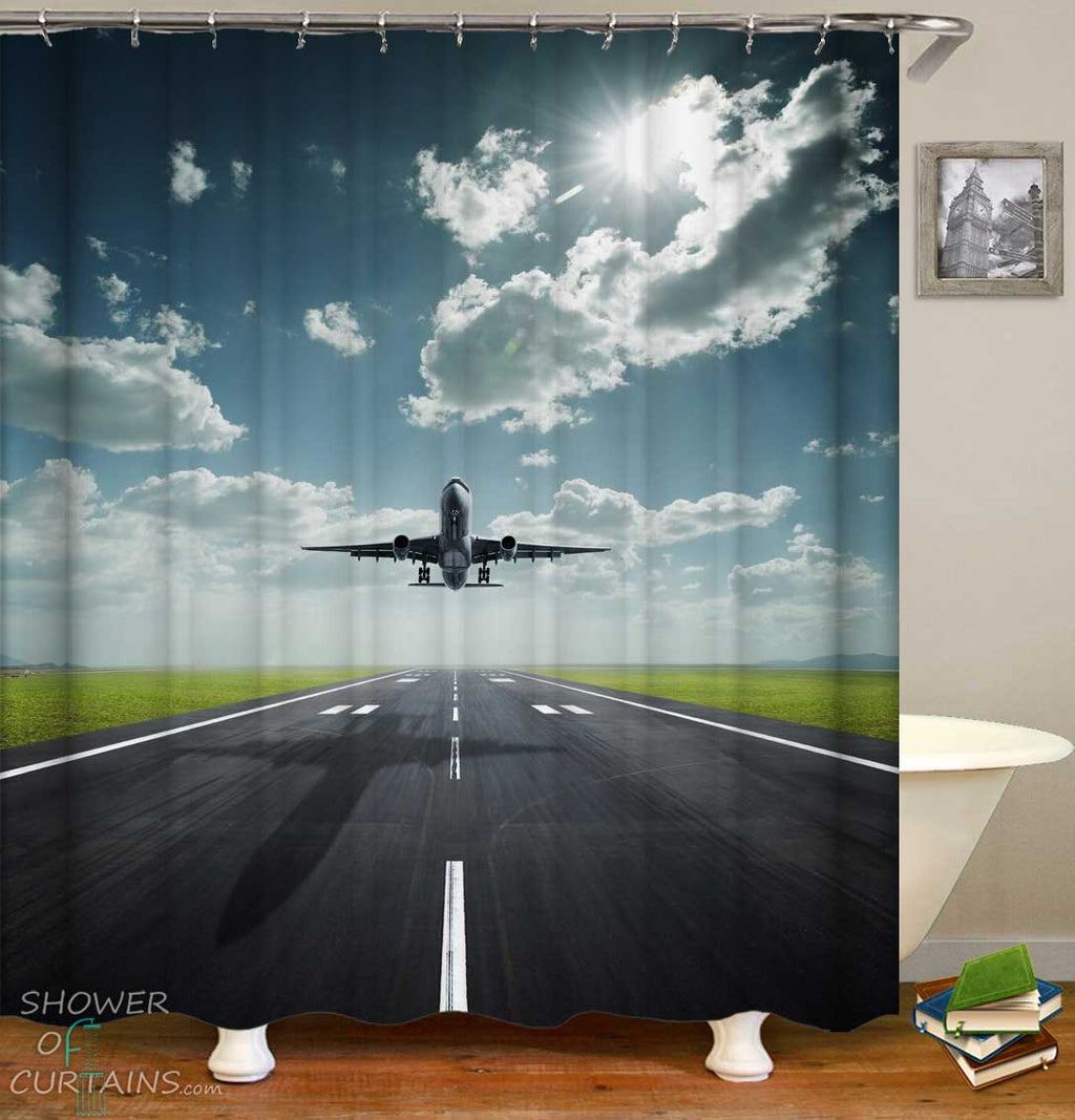 Shower Curtains with Plane Take Off