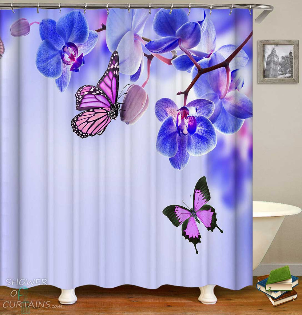 Shower Curtains with Purple Butterflies vs Blue Flowers