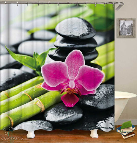 Shower Curtains with Relaxing Spa Mood Pink Orchid