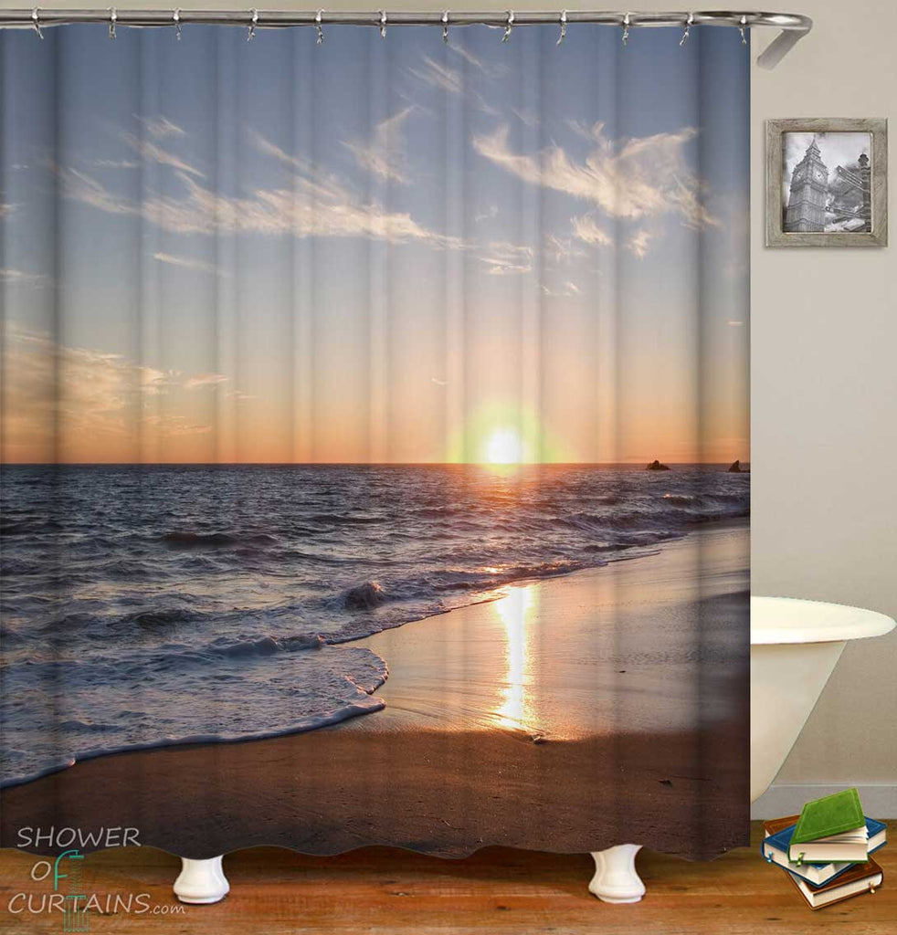 Shower Curtains with Relaxing Sunset at the Beach