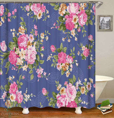 Shower Curtains with Roses over Paisley