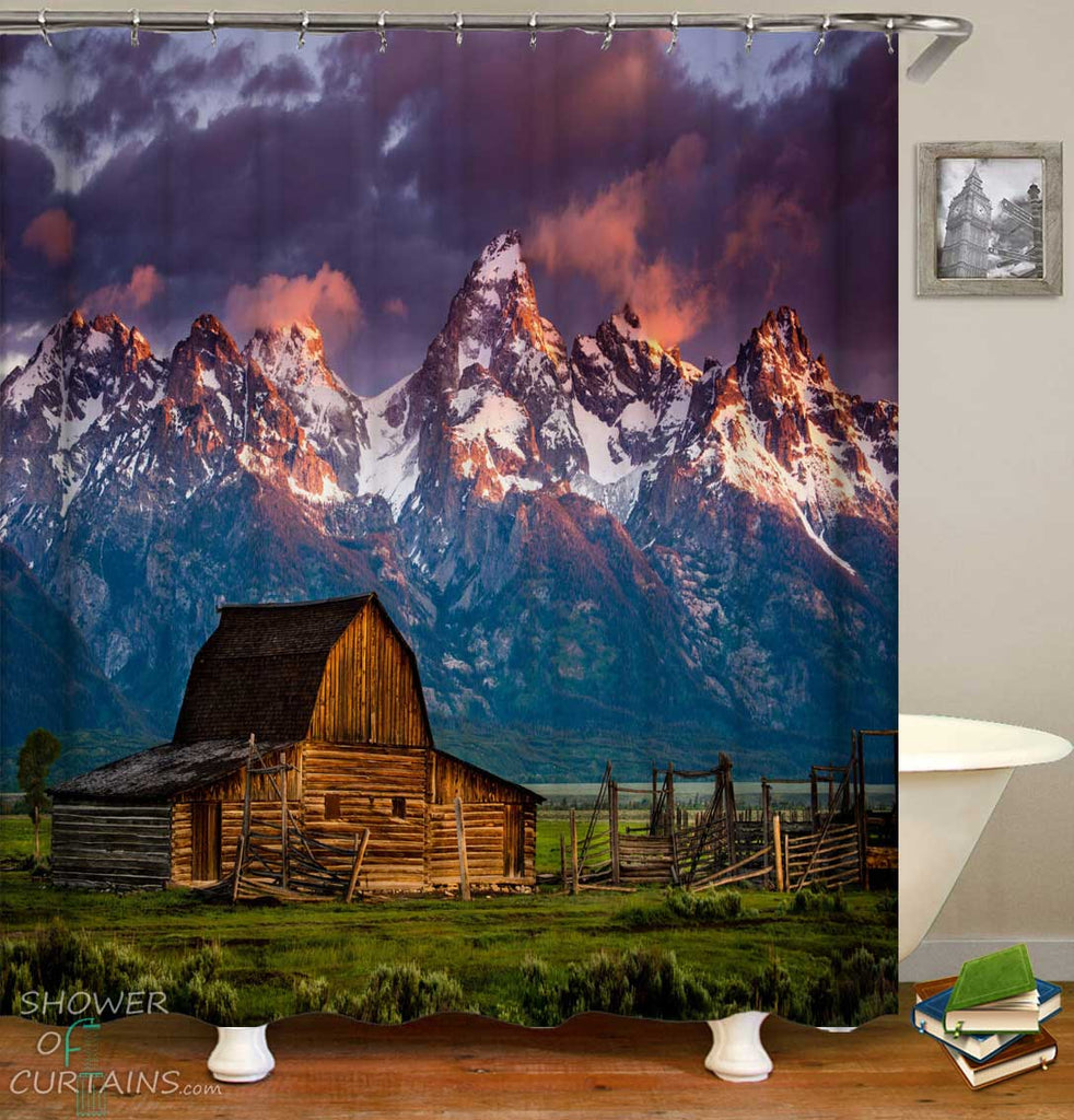 Shower Curtains with Rustic View Old Barn over Mountains