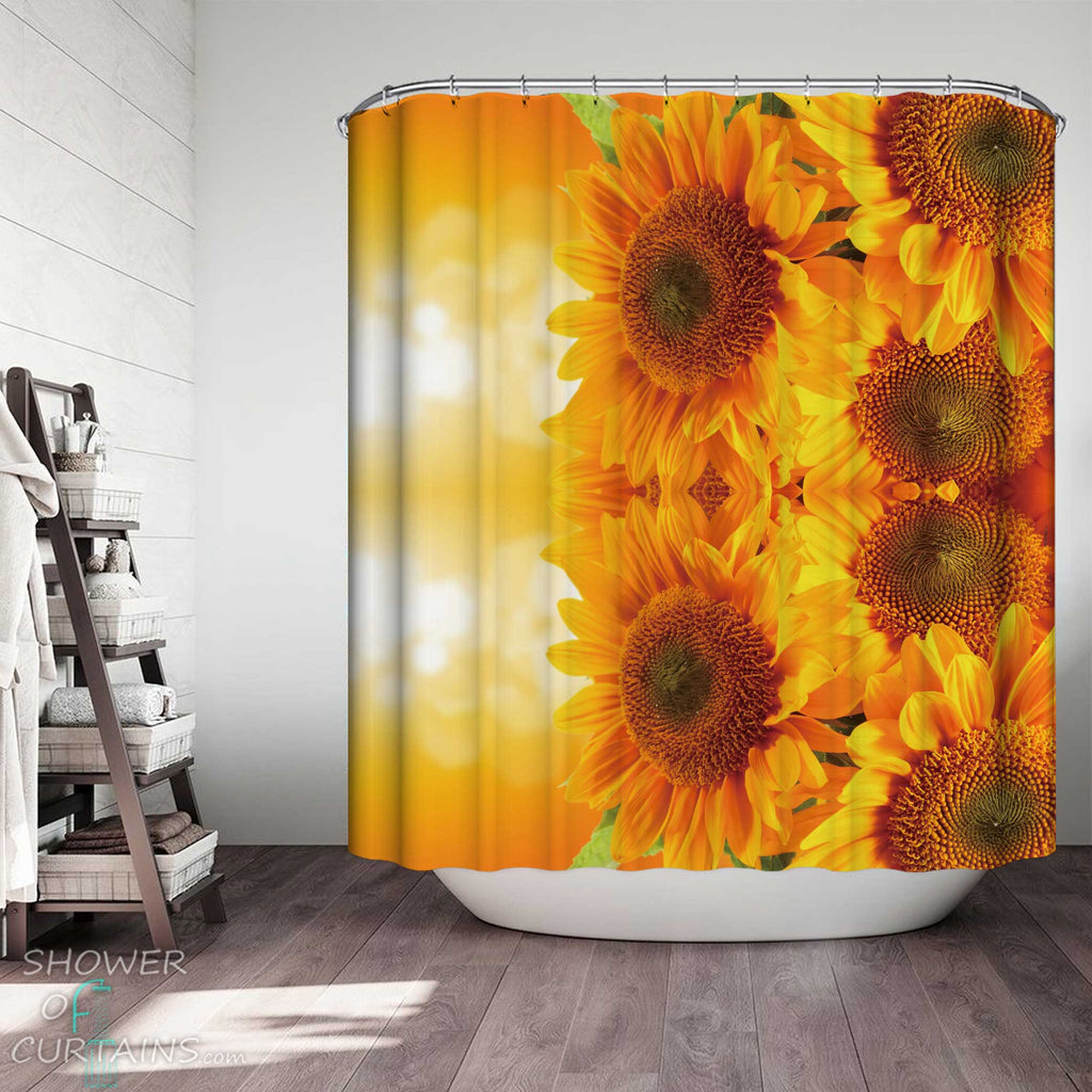 Shower Curtains with Shine Yellow Sunflowers