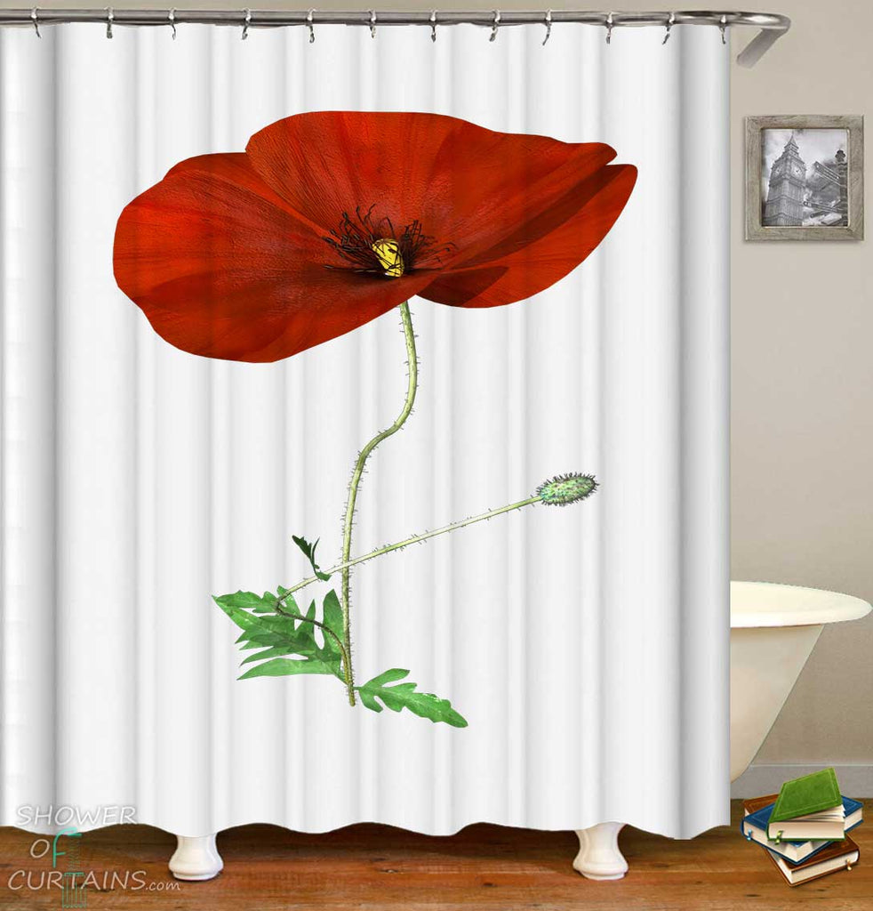 Shower Curtains with Single Poppy Flower