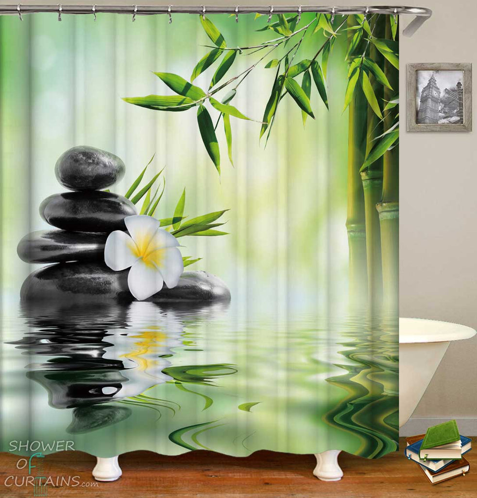 Shower Curtains with Spa Plumeria Pebbles and Bamboo
