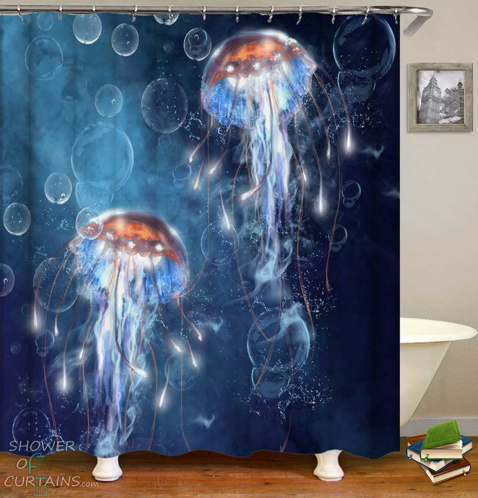Shower Curtains with Sparkling Jellyfish