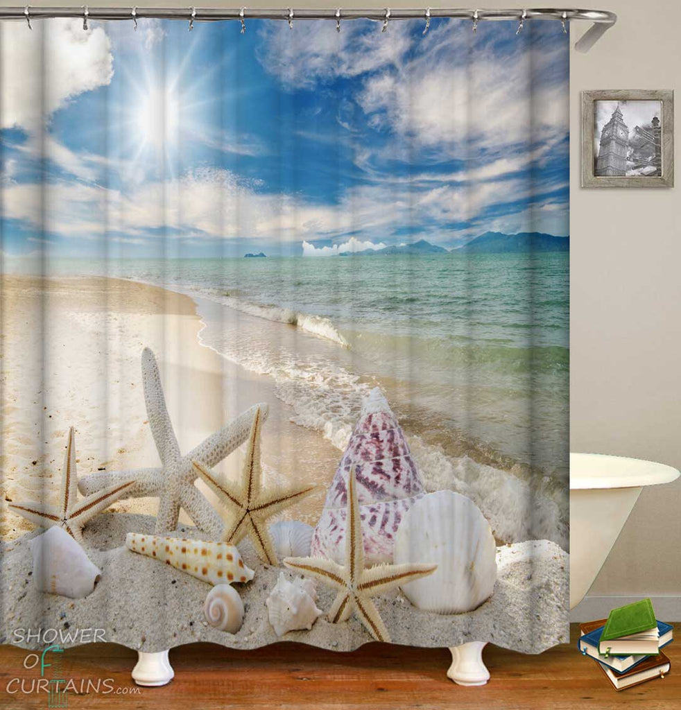 Shower Curtains with Starfish and Shells on the Beach