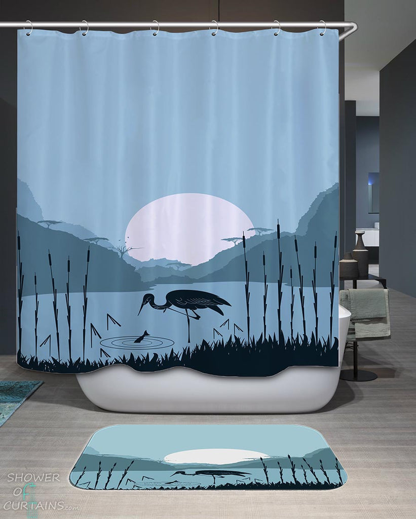 Shower Curtains with Stork Fishing on a Lake