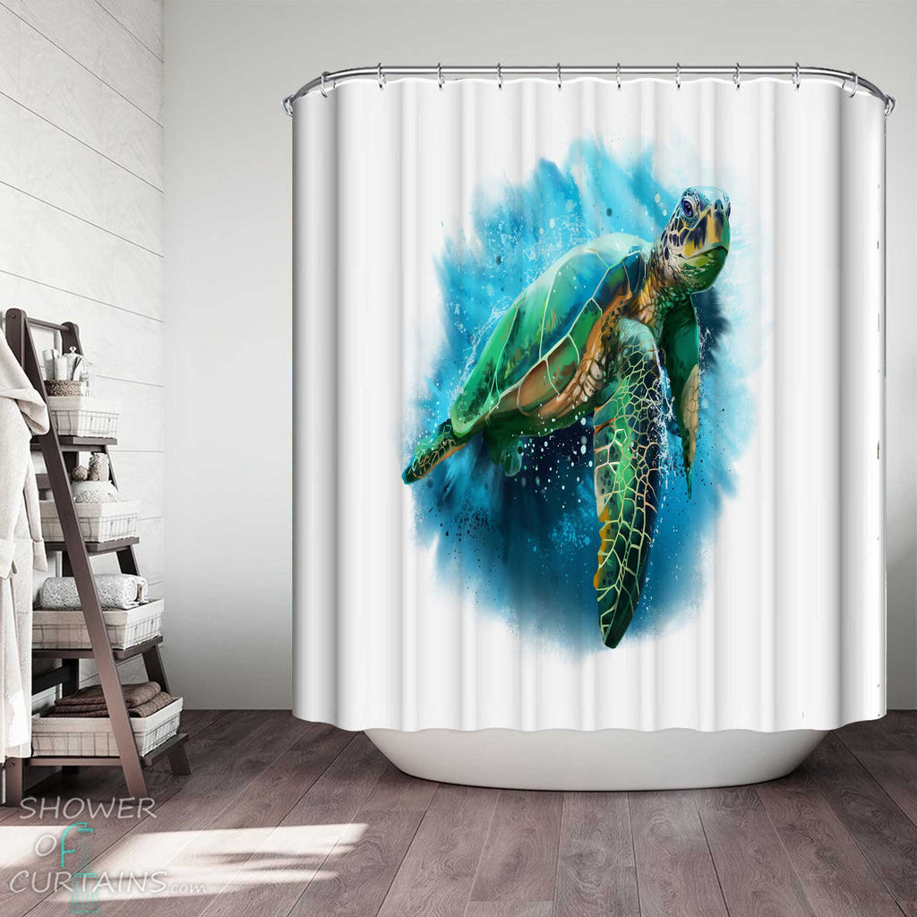 Shower Curtains with Stunning Turtle