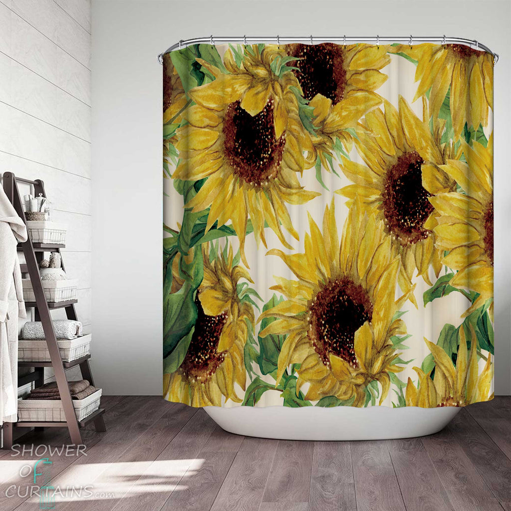 Shower Curtains with Sunflowers Painting