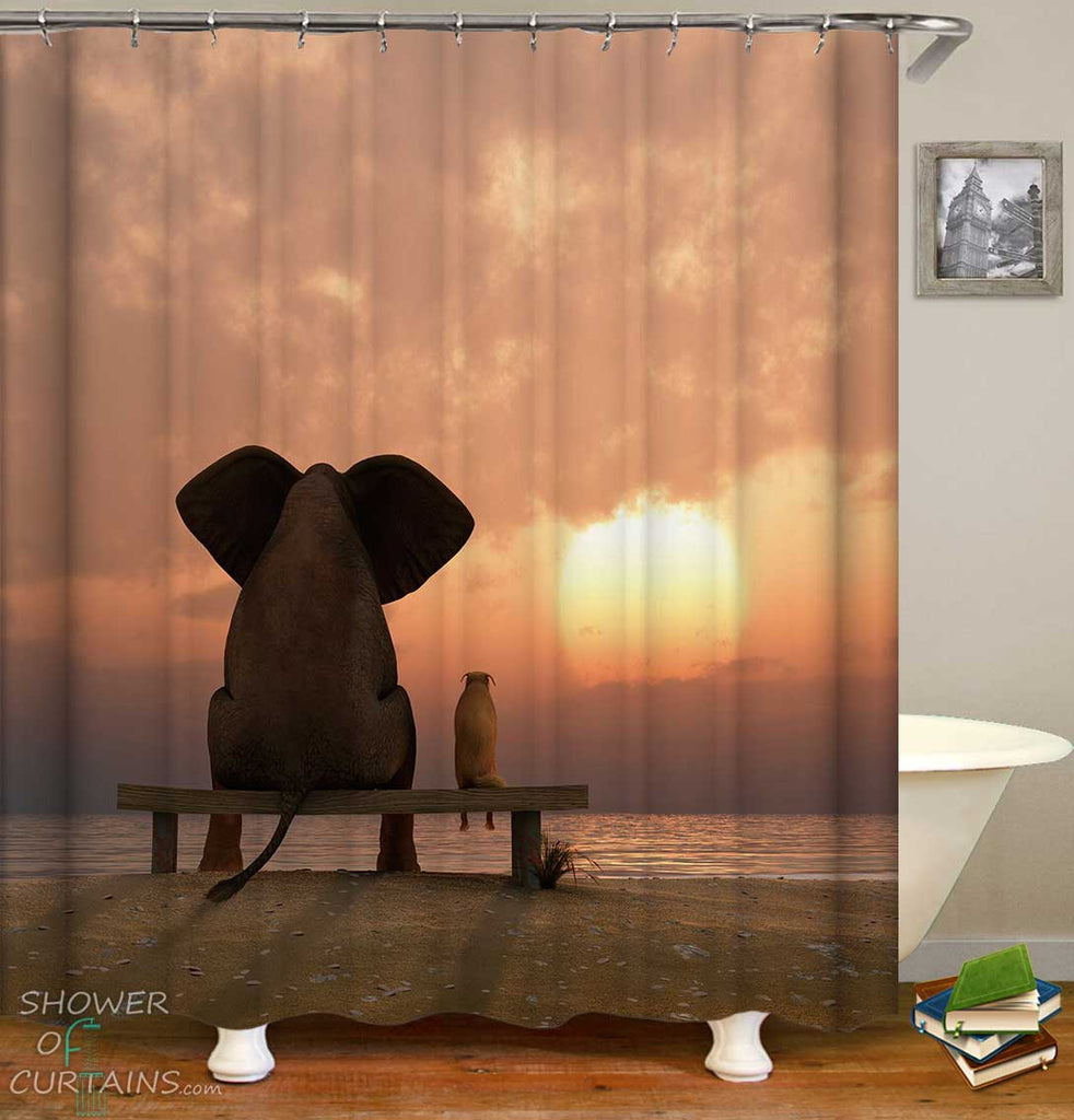 Shower Curtains with Sunset Elephant