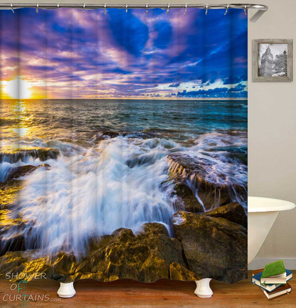 Shower Curtains with Sunset Rocks