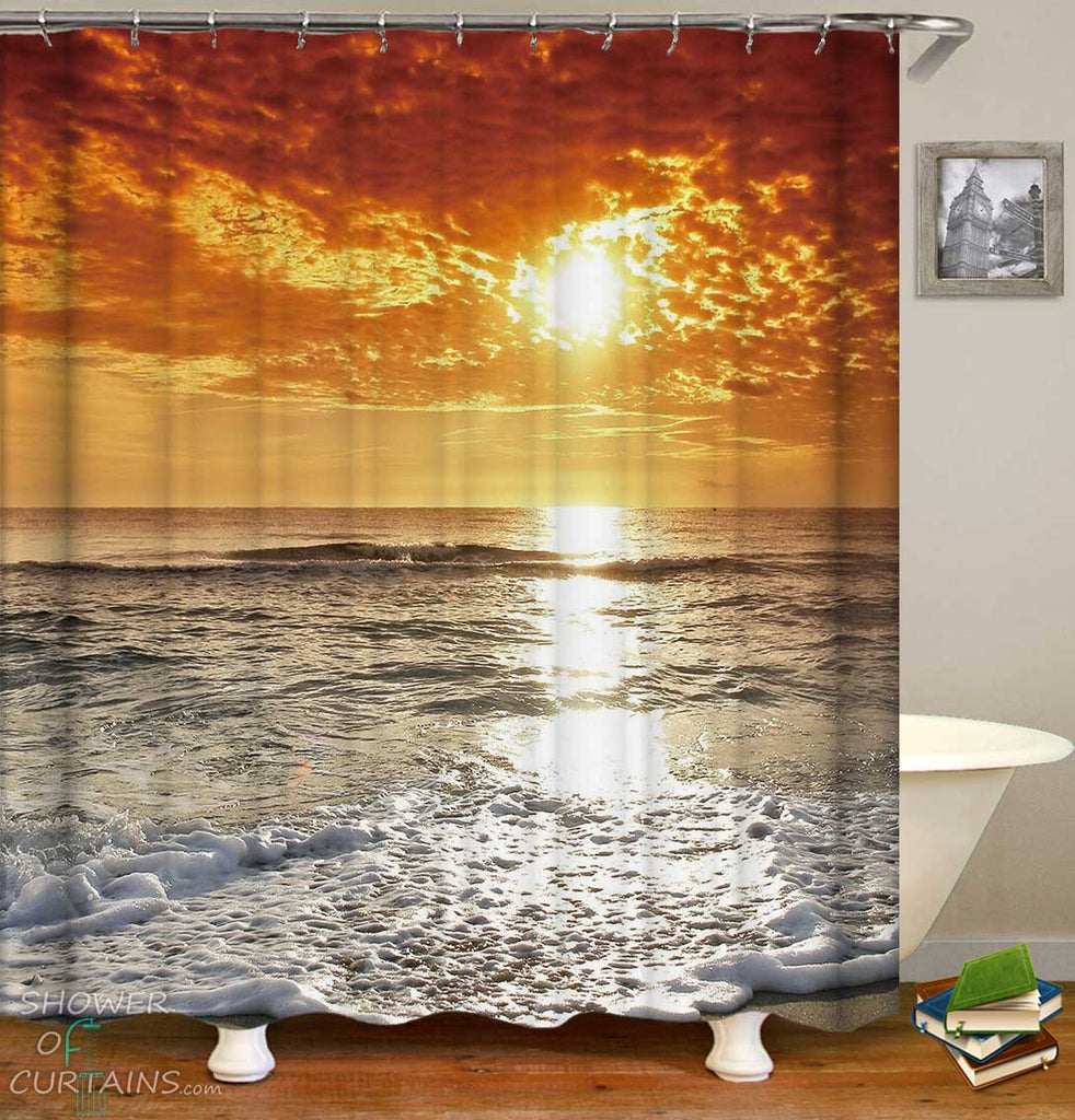 Shower Curtains with Sunset Sea