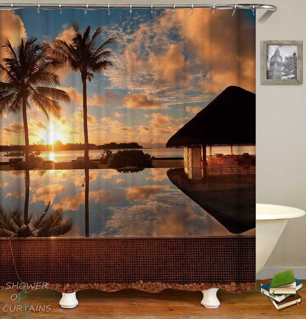 Shower Curtains with Sunset Tropical Resort