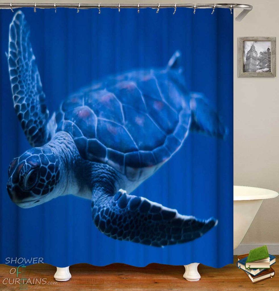 Shower Curtains with Swimming Turtle