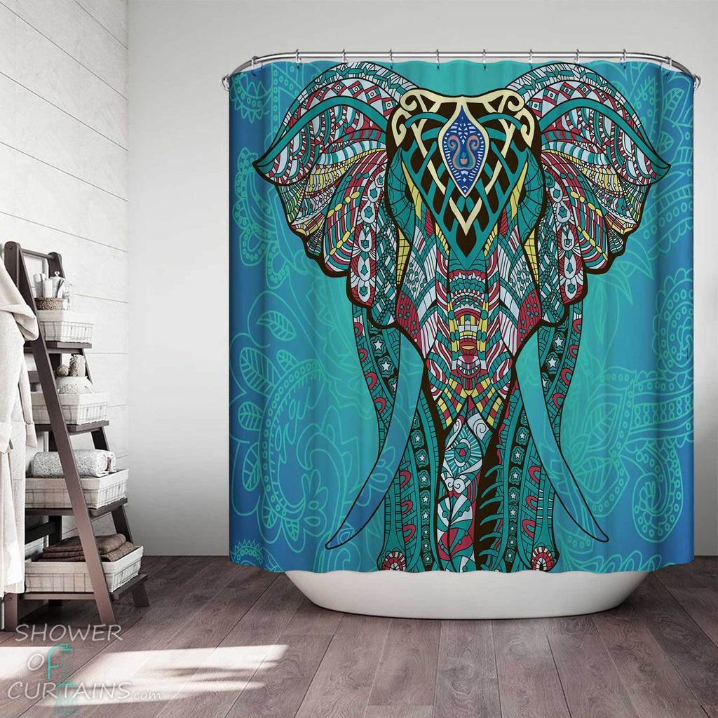 Shower Curtains with Teal Oriental Elephant